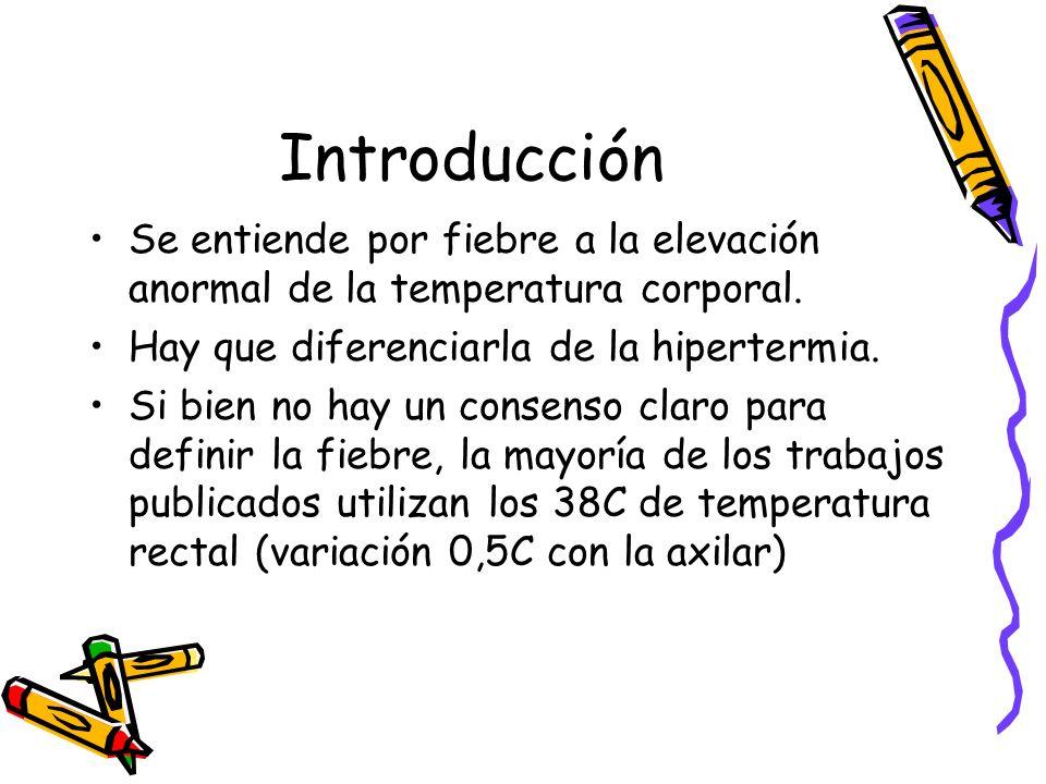 Introducción Se entiende por fiebre a la elevación anormal de la temperatura corporal. Hay que diferenciarla de la hipertermia.