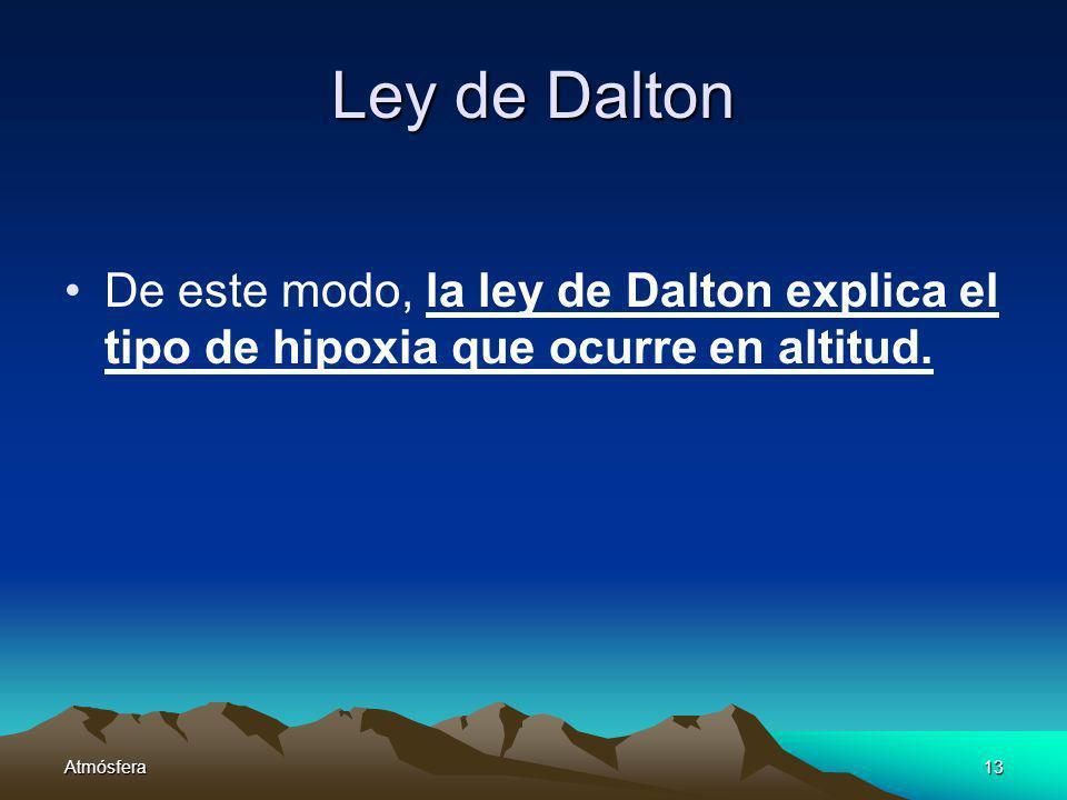 Ley de Dalton De este modo, la ley de Dalton explica el tipo de hipoxia que ocurre en altitud.