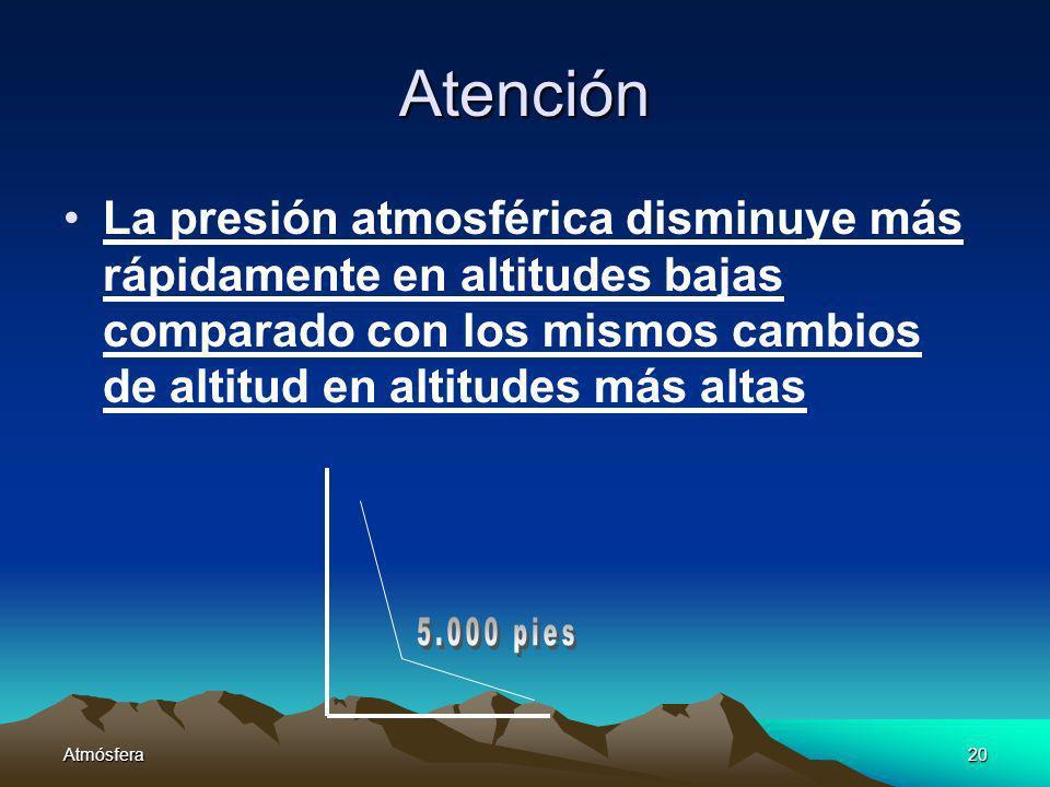 Atención La presión atmosférica disminuye más rápidamente en altitudes bajas comparado con los mismos cambios de altitud en altitudes más altas.