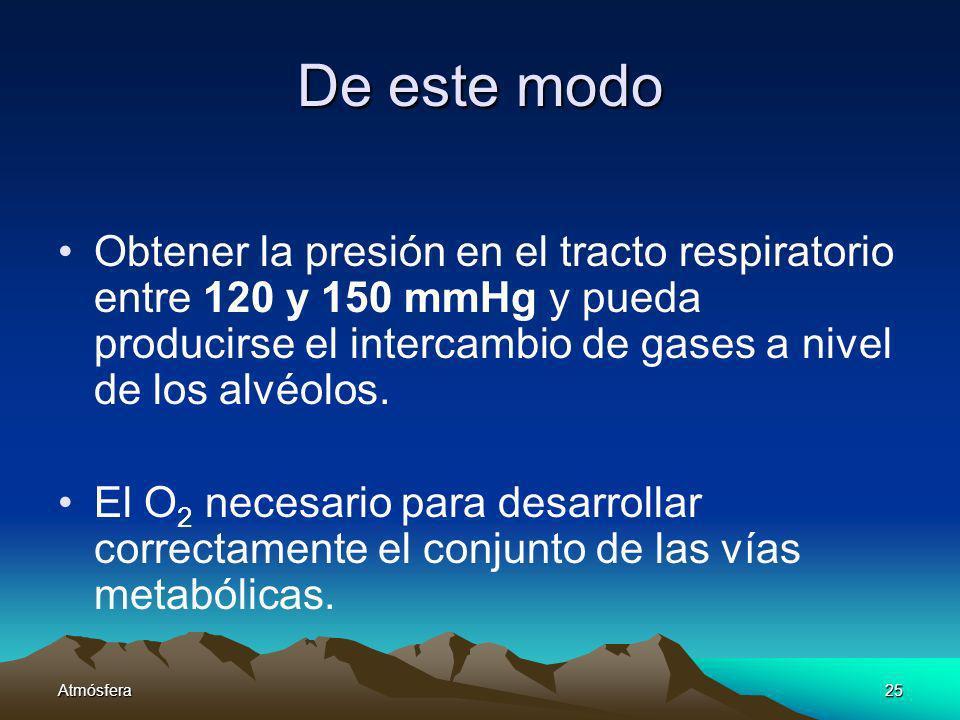 De este modo Obtener la presión en el tracto respiratorio entre 120 y 150 mmHg y pueda producirse el intercambio de gases a nivel de los alvéolos.
