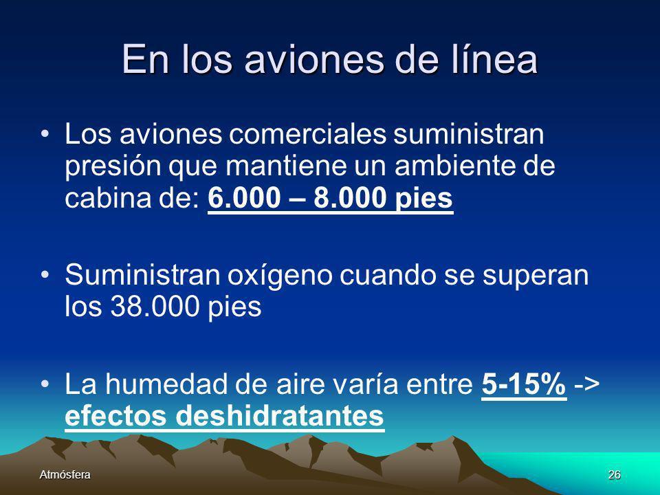 En los aviones de línea Los aviones comerciales suministran presión que mantiene un ambiente de cabina de: 6.000 – 8.000 pies.