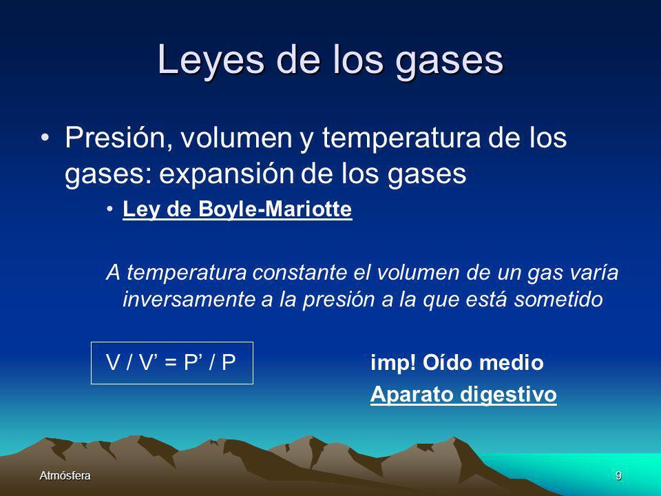 Leyes de los gases Presión, volumen y temperatura de los gases: expansión de los gases. Ley de Boyle-Mariotte.