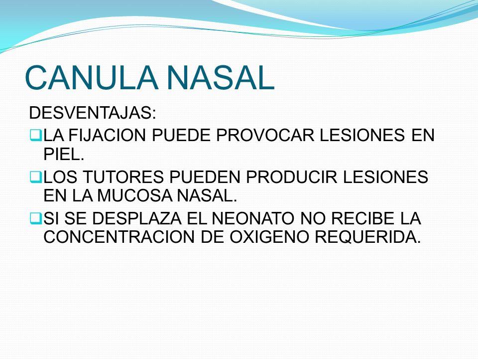 CANULA NASAL DESVENTAJAS: LA FIJACION PUEDE PROVOCAR LESIONES EN PIEL.