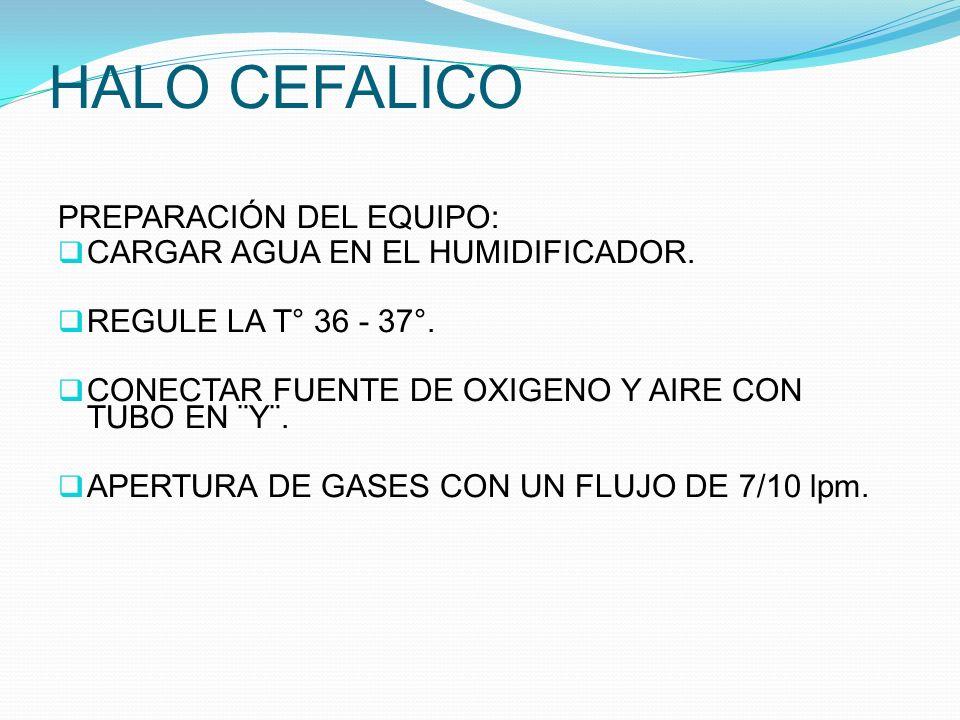 HALO CEFALICO PREPARACIÓN DEL EQUIPO: CARGAR AGUA EN EL HUMIDIFICADOR.