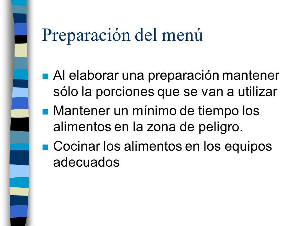 Preparación del menú Al elaborar una preparación mantener sólo la porciones que se van a utilizar.
