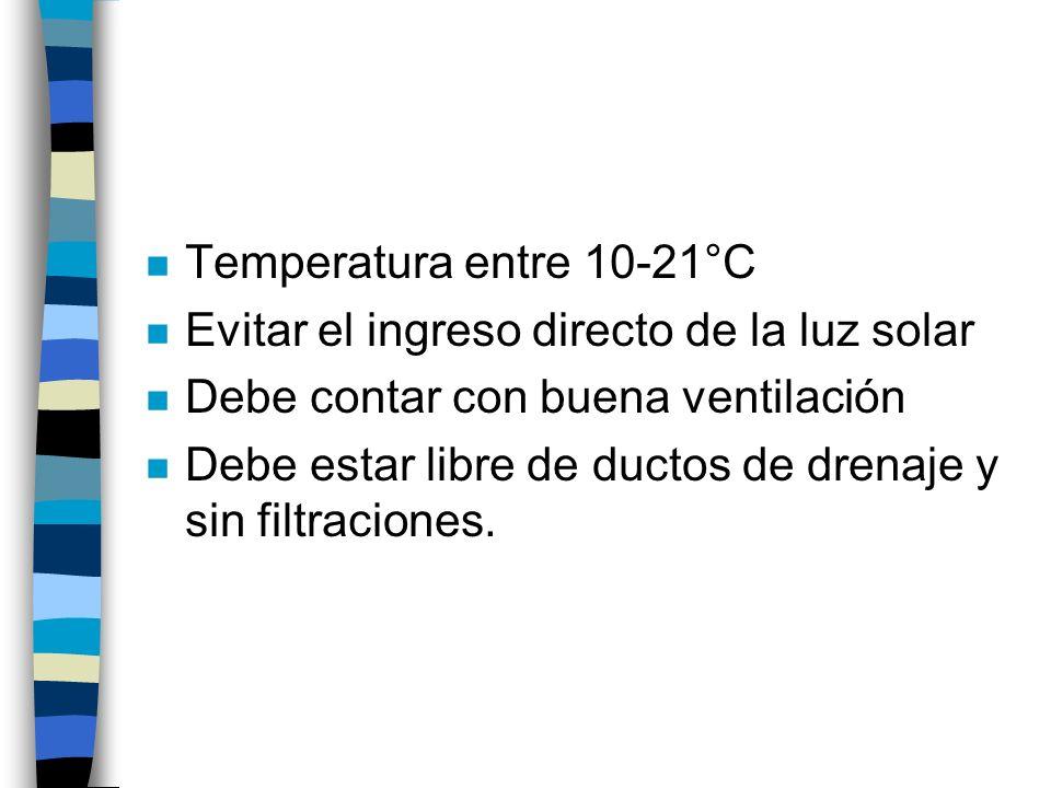 Temperatura entre 10-21°CEvitar el ingreso directo de la luz solar. Debe contar con buena ventilación.
