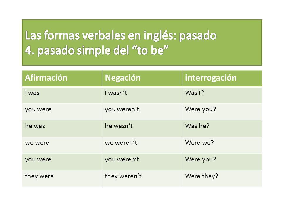 Las formas verbales en inglés: pasado 4. pasado simple del to be
