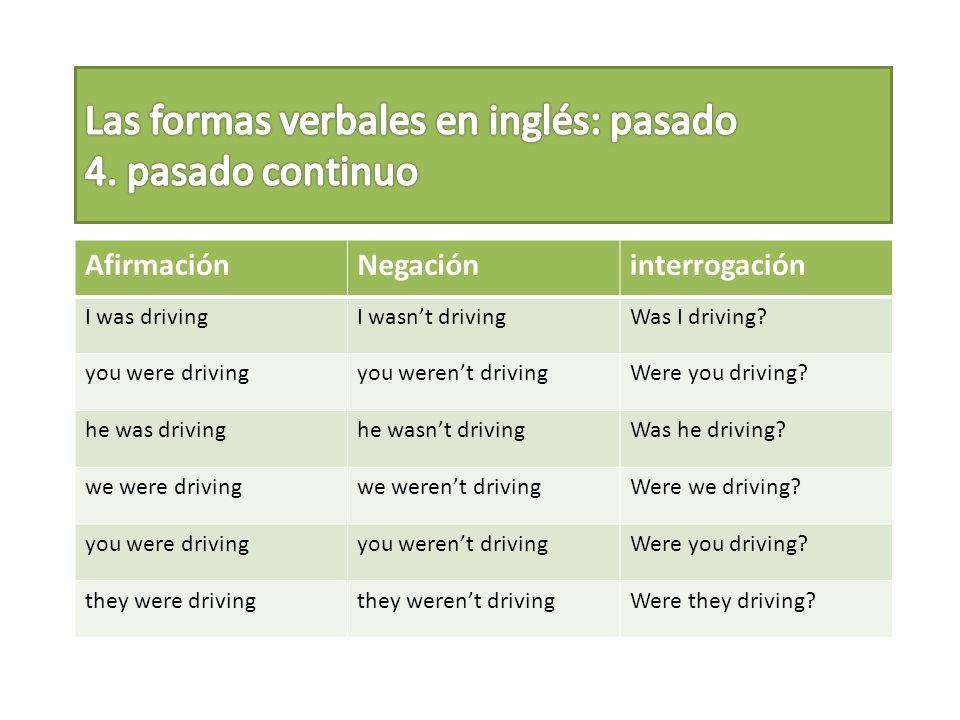 Las formas verbales en inglés: pasado 4. pasado continuo