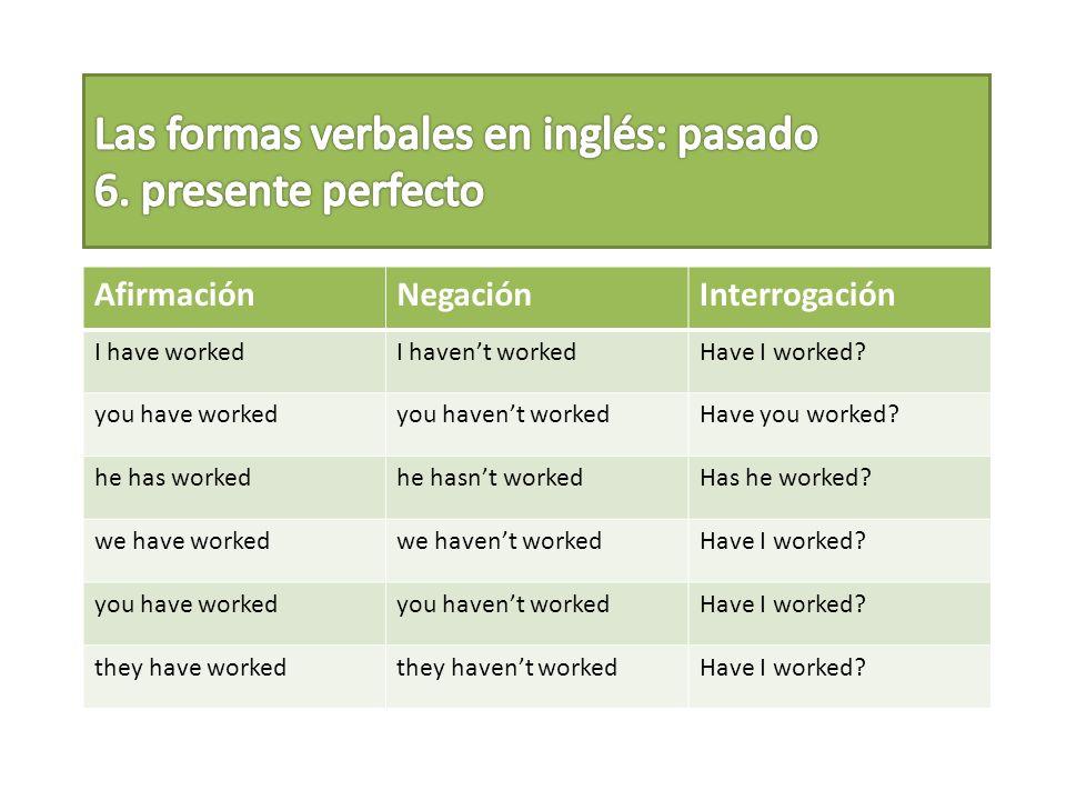 Las formas verbales en inglés: pasado 6. presente perfecto