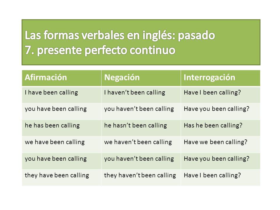 Las formas verbales en inglés: pasado 7. presente perfecto continuo