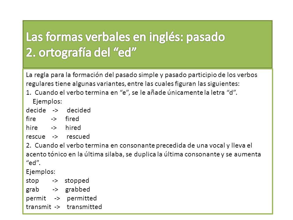 Las formas verbales en inglés: pasado 2. ortografía del ed
