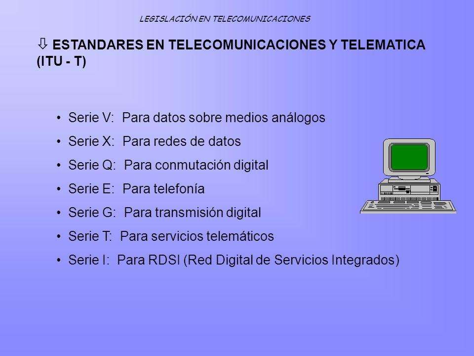 ESTANDARES EN TELECOMUNICACIONES Y TELEMATICA (ITU - T)
