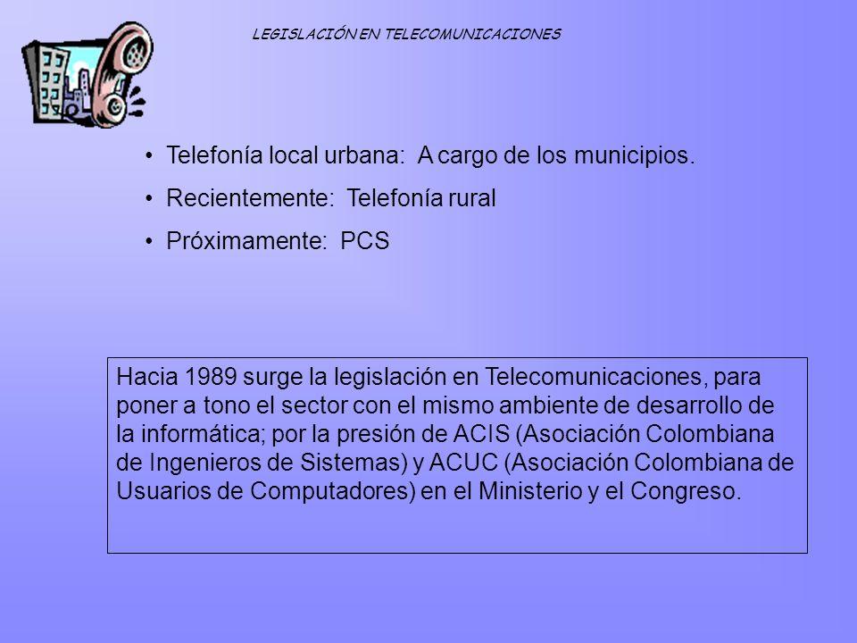 Telefonía local urbana: A cargo de los municipios.