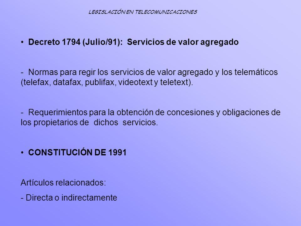Decreto 1794 (Julio/91): Servicios de valor agregado