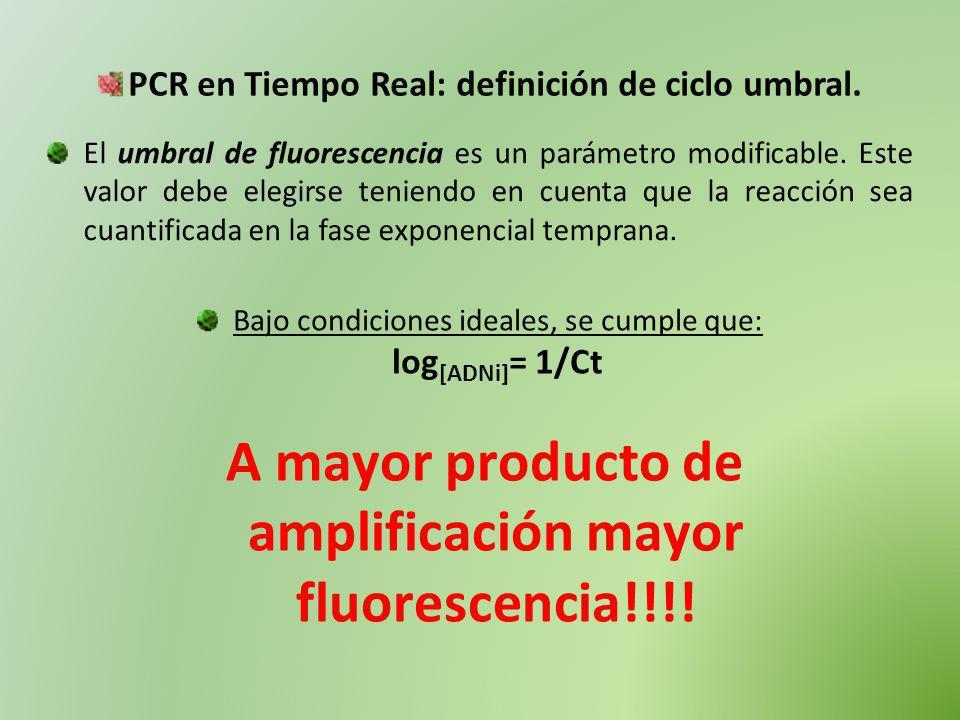 A mayor producto de amplificación mayor fluorescencia!!!!