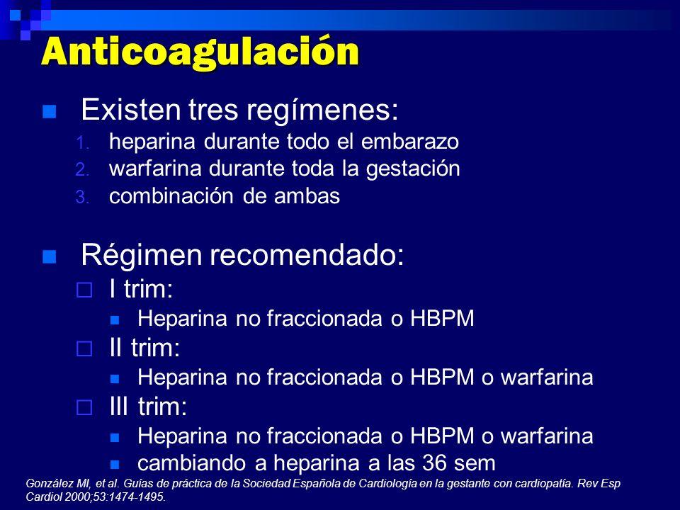 Anticoagulación Existen tres regímenes: Régimen recomendado: I trim: