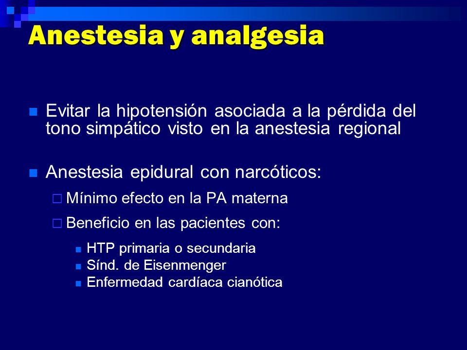 Anestesia y analgesia Evitar la hipotensión asociada a la pérdida del tono simpático visto en la anestesia regional.
