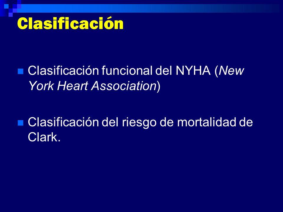 Clasificación Clasificación funcional del NYHA (New York Heart Association) Clasificación del riesgo de mortalidad de Clark.