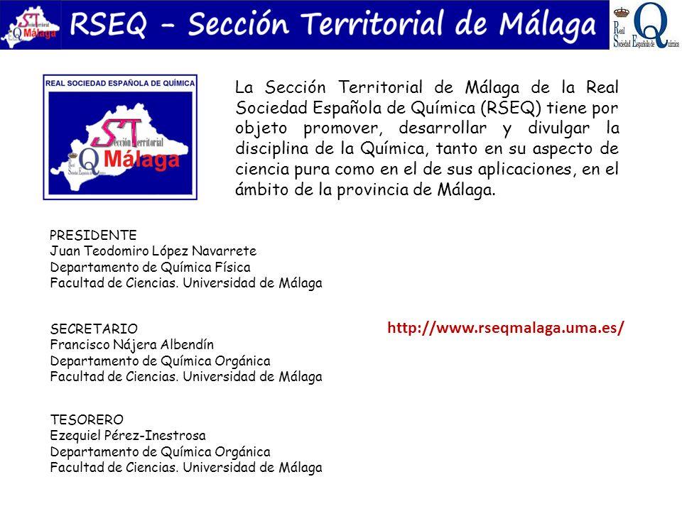 La Sección Territorial de Málaga de la Real Sociedad Española de Química (RSEQ) tiene por objeto promover, desarrollar y divulgar la disciplina de la Química, tanto en su aspecto de ciencia pura como en el de sus aplicaciones, en el ámbito de la provincia de Málaga.
