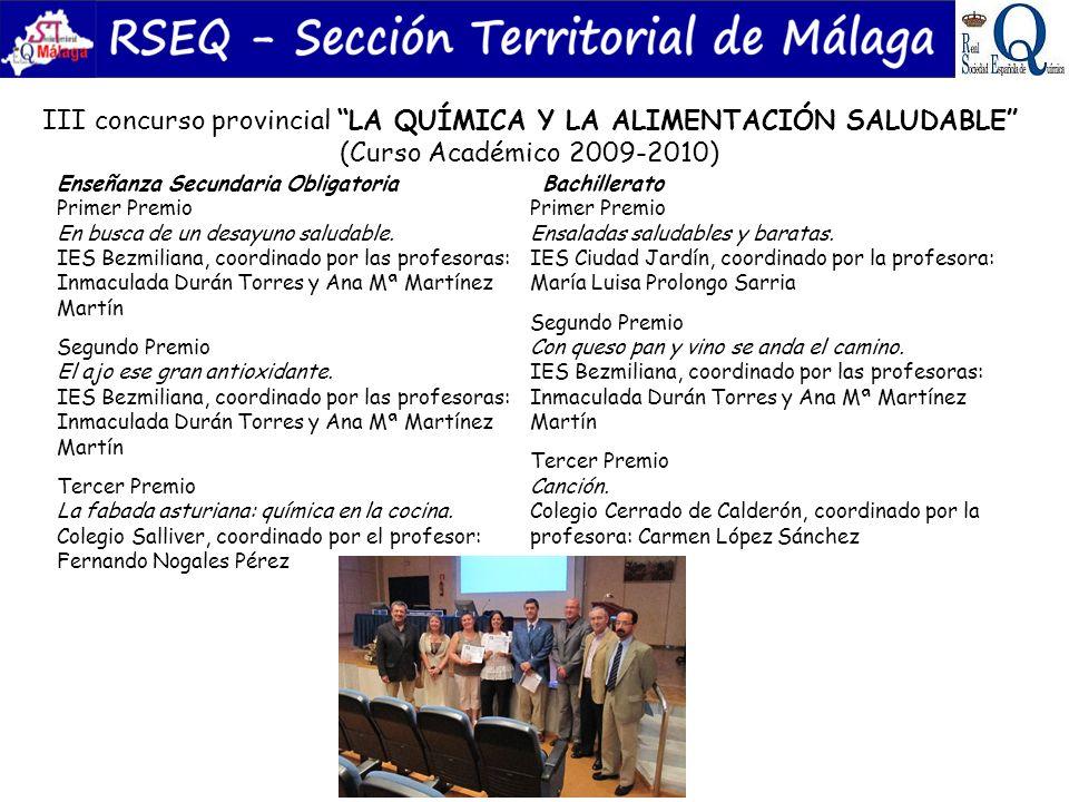 III concurso provincial LA QUÍMICA Y LA ALIMENTACIÓN SALUDABLE