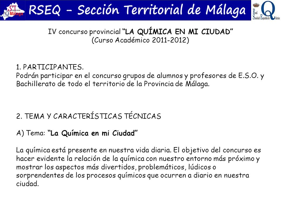 IV concurso provincial LA QUÍMICA EN MI CIUDAD (Curso Académico 2011-2012)