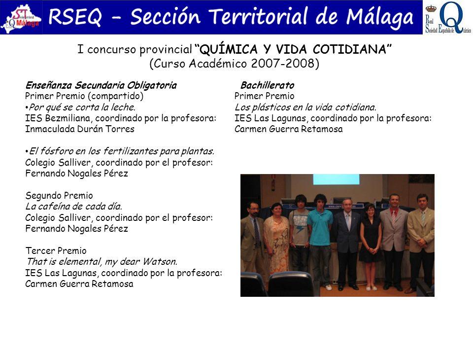 I concurso provincial QUÍMICA Y VIDA COTIDIANA