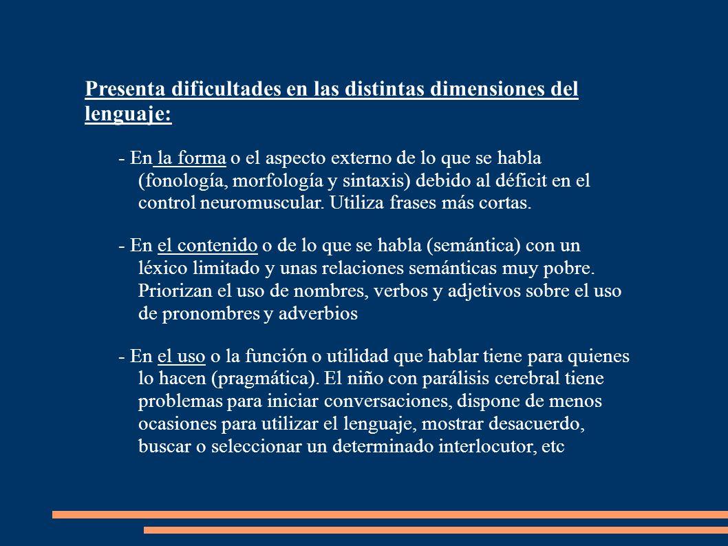 Presenta dificultades en las distintas dimensiones del lenguaje:
