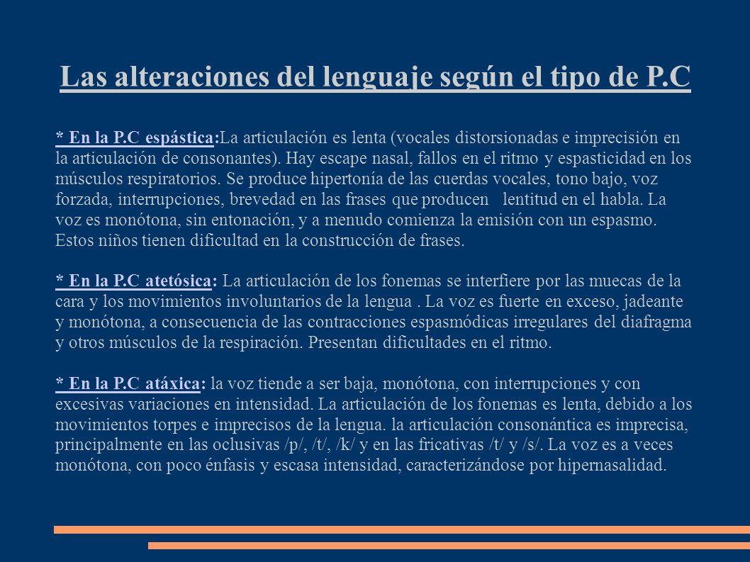 Las alteraciones del lenguaje según el tipo de P.C