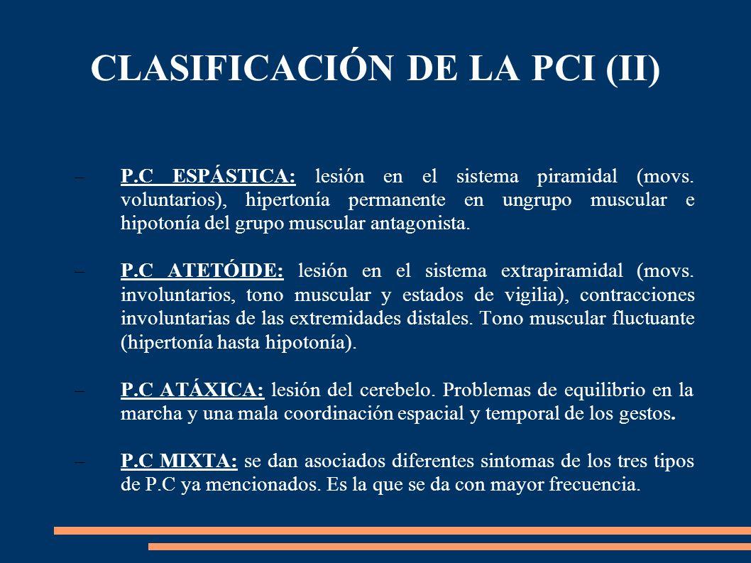 CLASIFICACIÓN DE LA PCI (II)