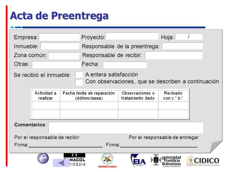 Acta de Preentrega Empresa: Proyecto: Hoja: /