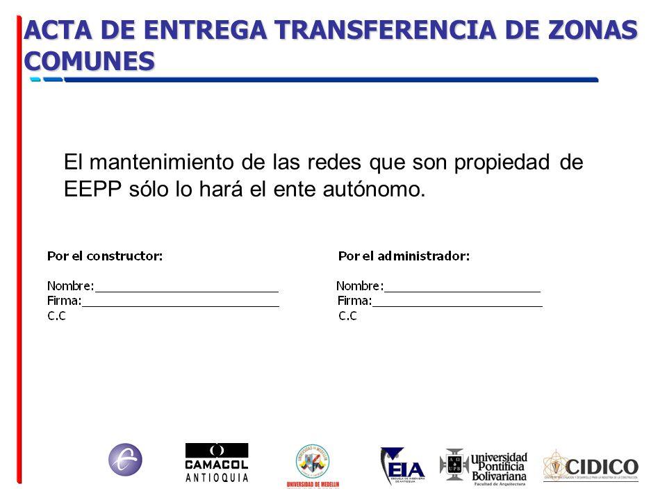 ACTA DE ENTREGA TRANSFERENCIA DE ZONAS COMUNES