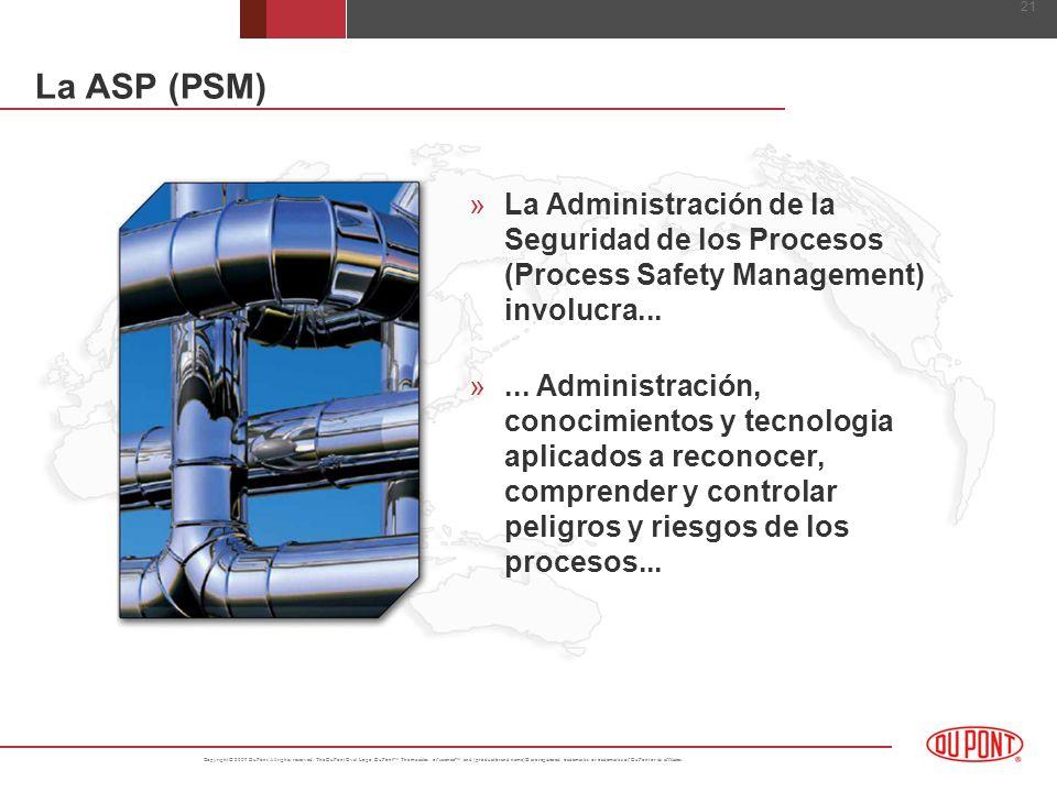 La ASP (PSM) La Administración de la Seguridad de los Procesos (Process Safety Management) involucra...