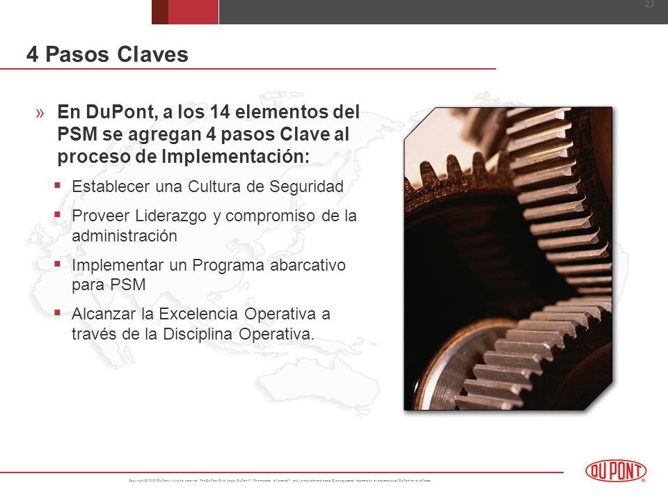 4 Pasos Claves En DuPont, a los 14 elementos del PSM se agregan 4 pasos Clave al proceso de Implementación: