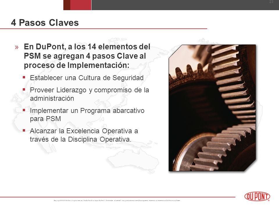 4 Pasos ClavesEn DuPont, a los 14 elementos del PSM se agregan 4 pasos Clave al proceso de Implementación: