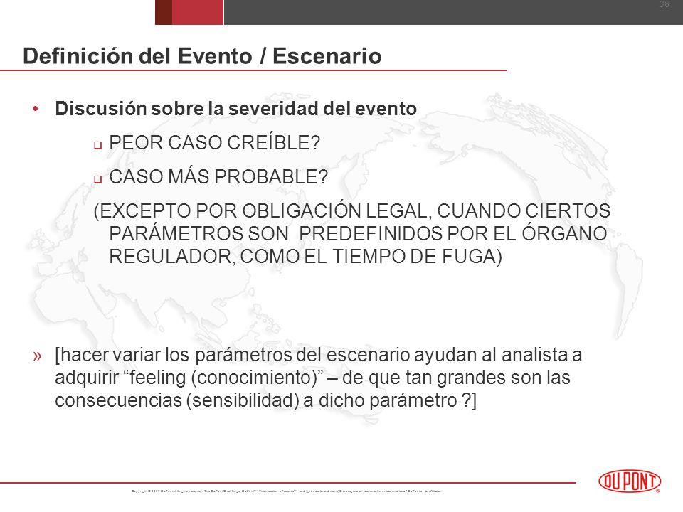 Definición del Evento / Escenario