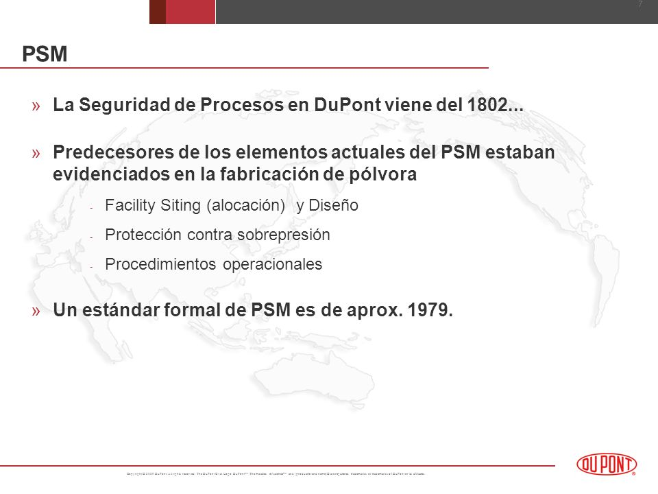 PSM La Seguridad de Procesos en DuPont viene del 1802...