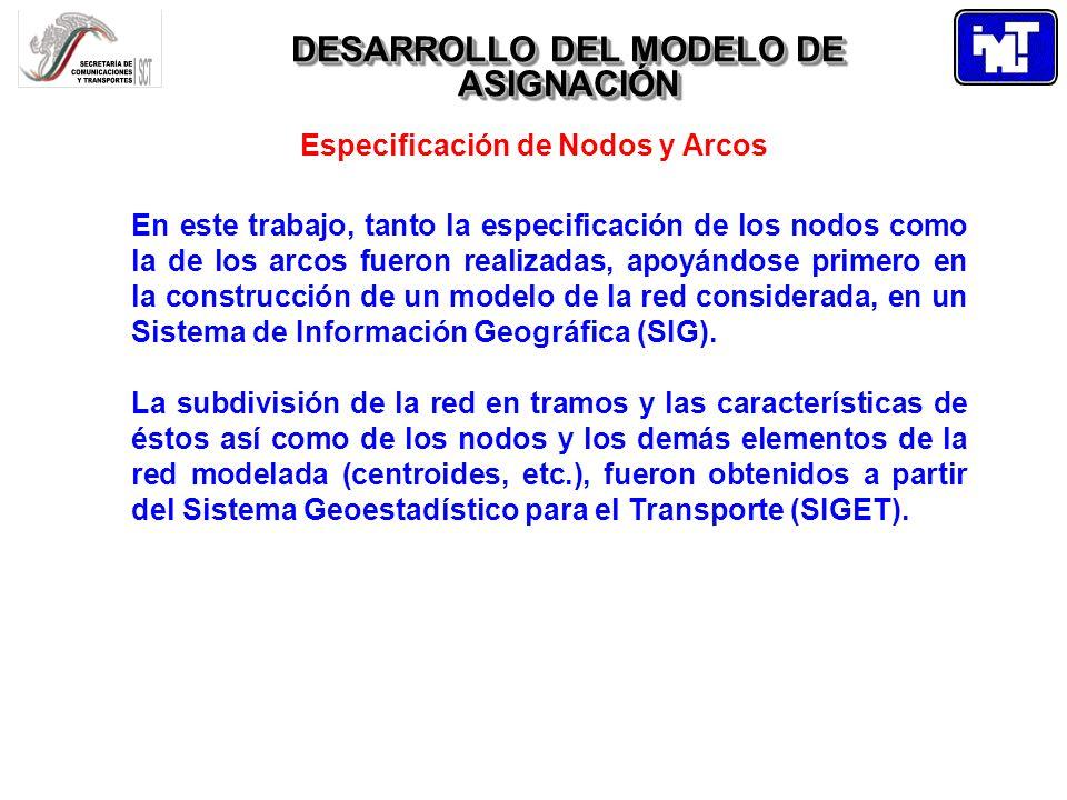 DESARROLLO DEL MODELO DE ASIGNACIÓN Especificación de Nodos y Arcos