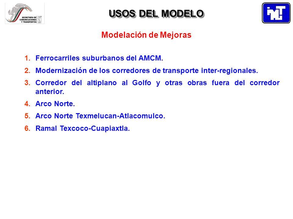 USOS DEL MODELO Modelación de Mejoras. Ferrocarriles suburbanos del AMCM. Modernización de los corredores de transporte inter-regionales.