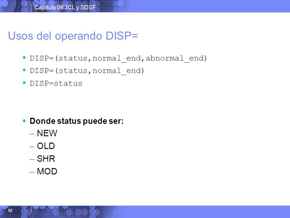 Usos del operando DISP=