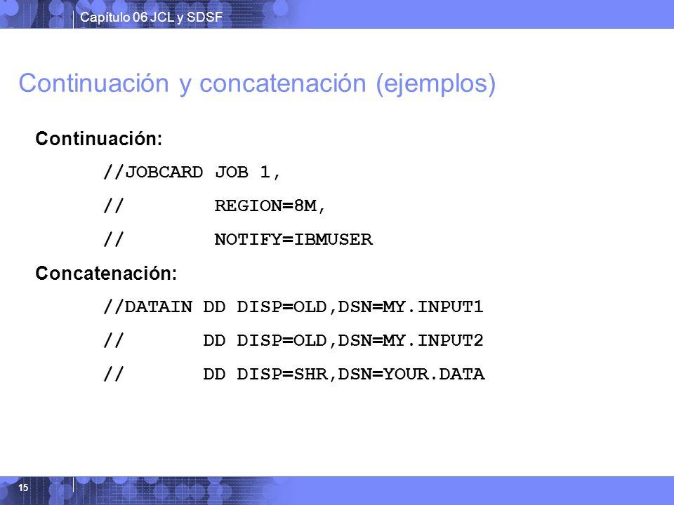 Continuación y concatenación (ejemplos)