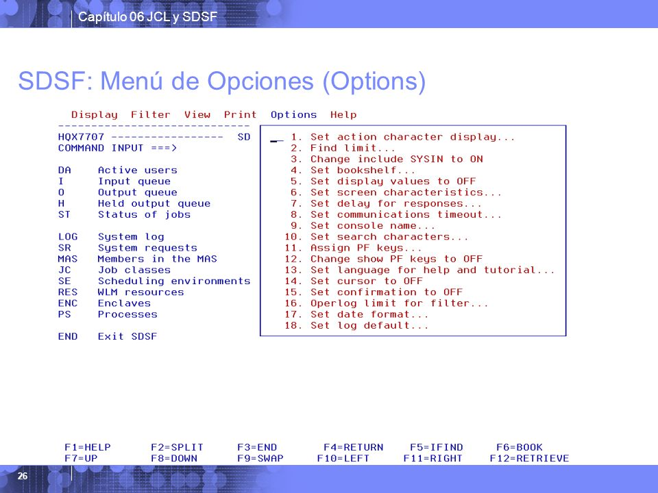 SDSF: Menú de Opciones (Options)