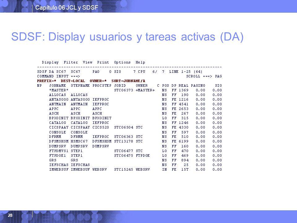 SDSF: Display usuarios y tareas activas (DA)