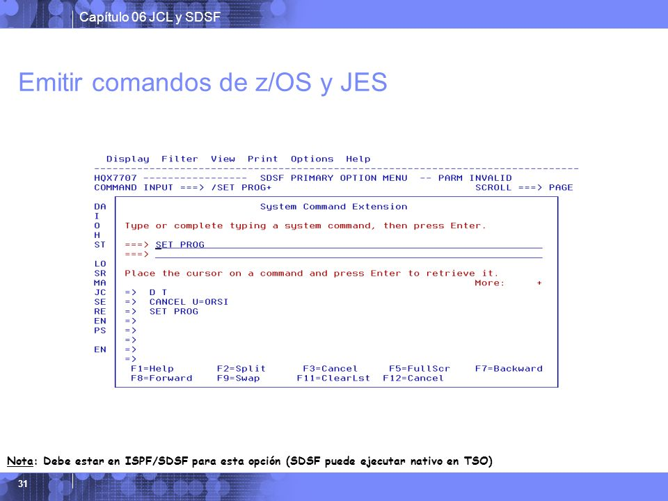 Emitir comandos de z/OS y JES