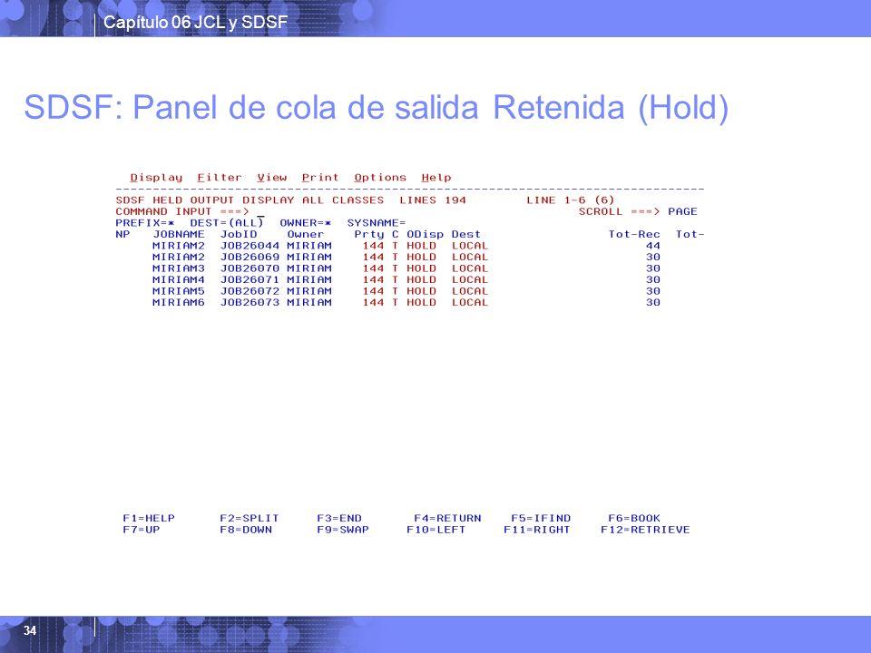 SDSF: Panel de cola de salida Retenida (Hold)