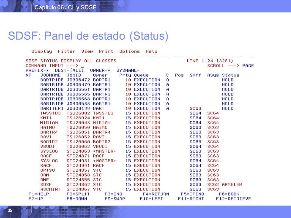 SDSF: Panel de estado (Status)