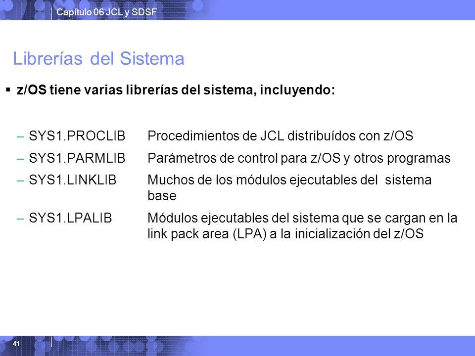 Librerías del Sistema z/OS tiene varias librerías del sistema, incluyendo: SYS1.PROCLIB Procedimientos de JCL distribuídos con z/OS.