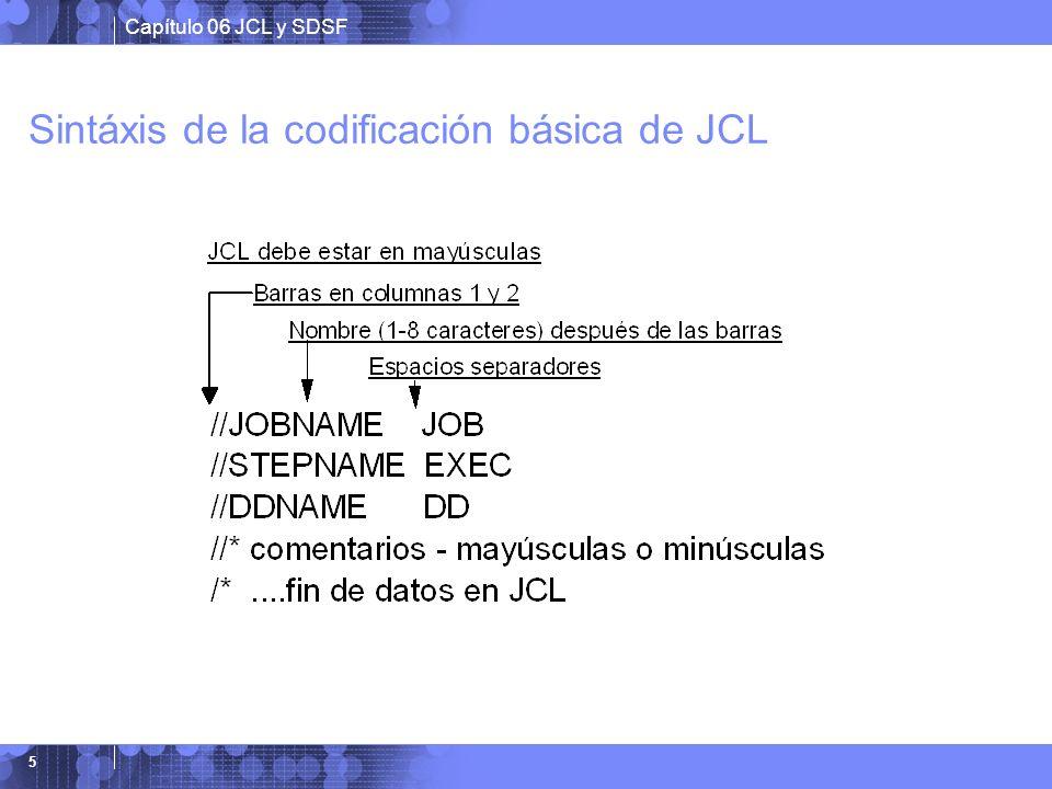 Sintáxis de la codificación básica de JCL
