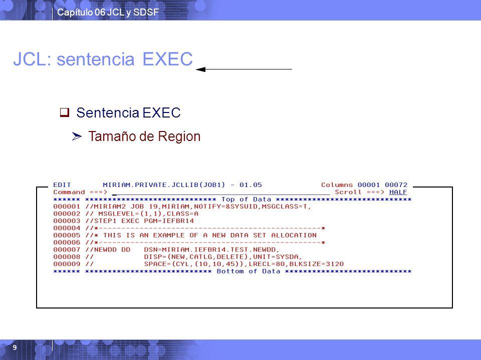 JCL: sentencia EXEC Sentencia EXEC Tamaño de Region Ejemplo: