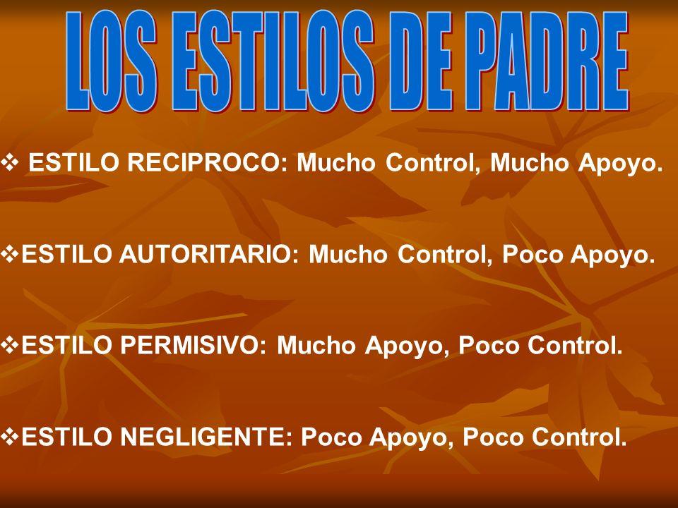 LOS ESTILOS DE PADRE ESTILO RECIPROCO: Mucho Control, Mucho Apoyo.