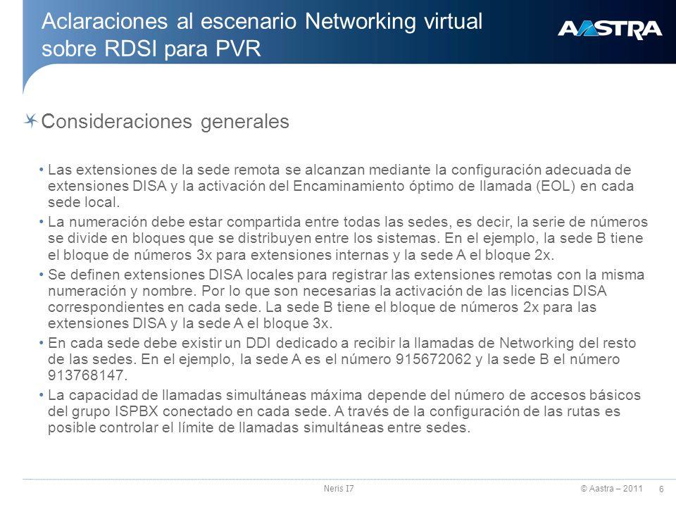 Aclaraciones al escenario Networking virtual sobre RDSI para PVR